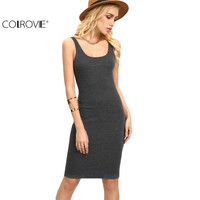 COLROVIE Ladies Summer Style Fitness Women Sexy Bodycon Knee Length Dresses Casual 2017 New Sleeveless Dress