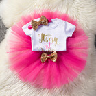 Tutu baby girl dress first birthday girl baby clothing tutu dress +bodysuit + headhand 3pcs party sets kids summer vestidos
