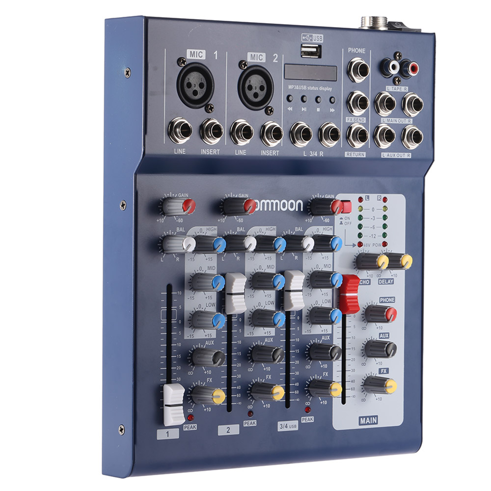 ammoon F4 USB 3 Channel Mixer Console Digital Mic Line Audio Mixing with 48V Phantom Power