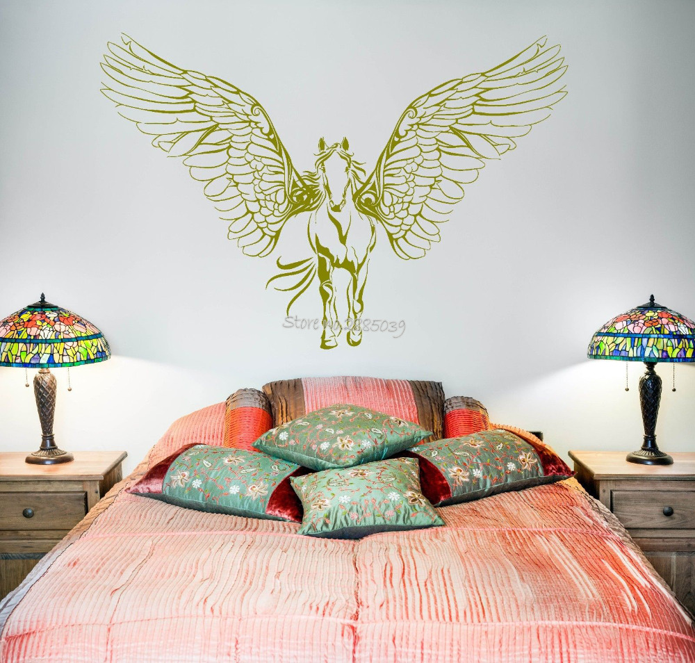 New Horse Wings Wall Decals Vinyl Wall Stickers For Kids Rooms Art Pegasus Mural Waterproof Decal Modern Poster Home Decor LA495