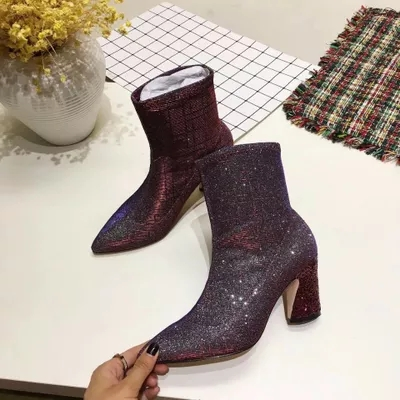 Bling Bling Pointed Toe Women Ankle Boots Sexy Slip On Middle Square Heel Winter Short Boots Sexy Party Shoes Female sexy women s short boots with square buckle and pointed toe design