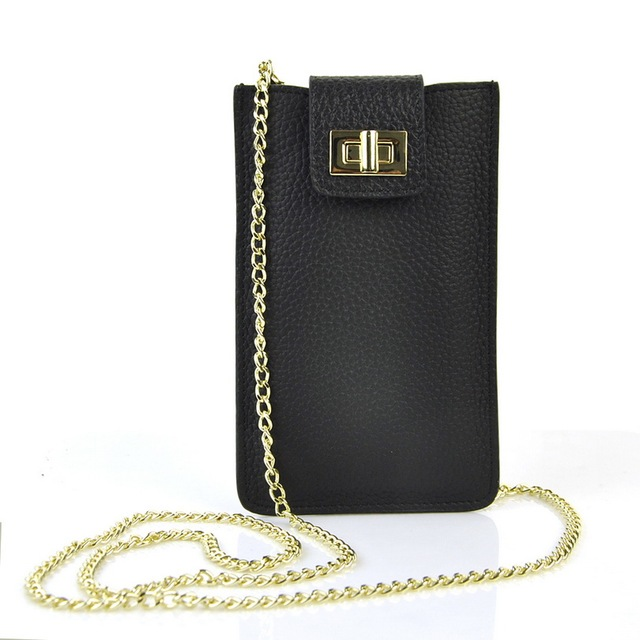Women Genuine Cow Leather Cellphone Bag Shoulder Cross Body Chain Handbag Mobile Purse Casual Fashion Lady Bags Card Holder Case
