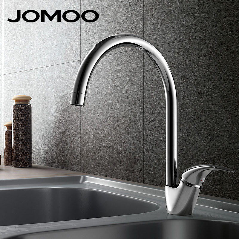 JOMOO Brass Kitchen Faucet Sink MixerTap Cold And Hot Water Kitchen Tap Single Hole Water Mixer torneira cozinha grifo cocina high quality single handle brass hot and cold basin sink kitchen faucet mixer tap with two hose kitchen taps torneira cozinha