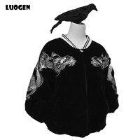 Hot Japanese Harajuku YOKOSUKA Feel Women Baseball Jacket Dragon Embroidery Cool Long Sleeve Casual Outwear Coat