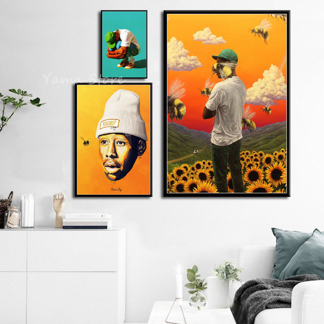 fbc7b23af76e17 S868 Album Cover Tyler the Creator Flower Boy Hip Hop Rapper Star Wall Art  Painting Print On Silk Canvas Poster Home Decoration