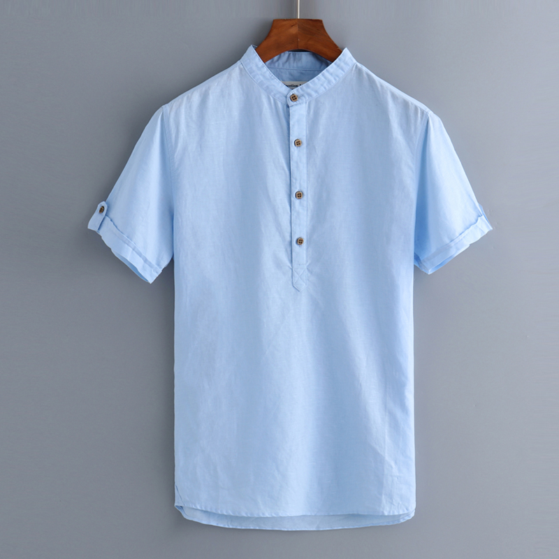 French style short sleeve shrit men brand linen shirts men solid casual mens shirt solid ...