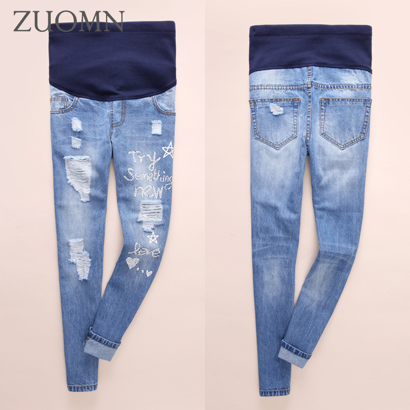 Jeans For Pregnant Women Maternity Pregnancy Jeans Overalls Pants Pregnant Women Casual Straight Denim Hole Trousers Jean Y691