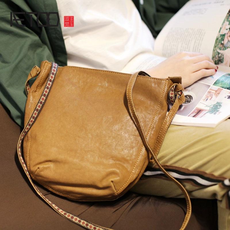 AETOO borsa delle Nuove donne versione Coreana del selvaggio di arte retrò in pelle morbida borsa secchiello borsa a tracolla piccola borsa di pelle di pecora sacchetto del messaggero-in Borse a tracolla da Valigie e borse su  Gruppo 1