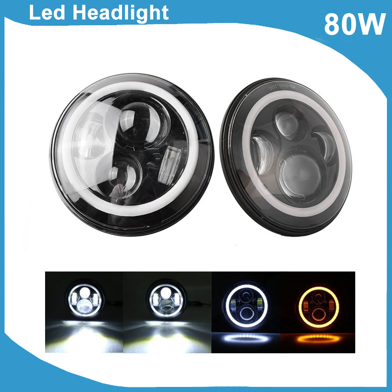 2x Hot 7 Inch 80W LED Headlight DRL Black Silver Projector Offroad SUV Pickup Motor Hi/Low Beam Crystal 12V Led Headlights Lamps