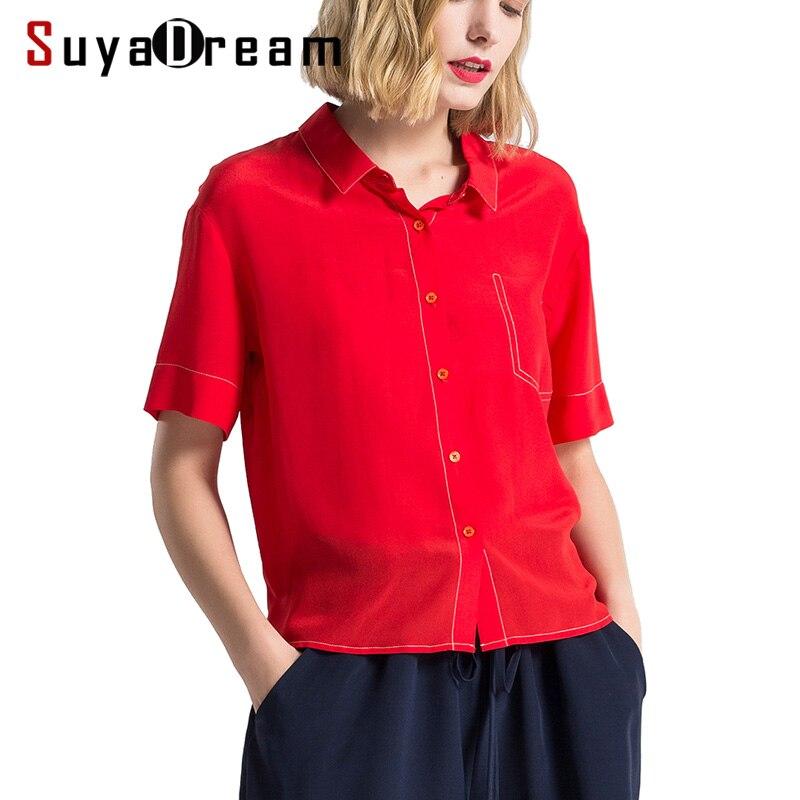 Kobiety lato Blouese 100% prawdziwy jedwab krepa czerwony bluzka z krótkim rękawem urząd Lady koszulka 2019 lato kontrast nici Top w Bluzki i koszule od Odzież damska na  Grupa 1