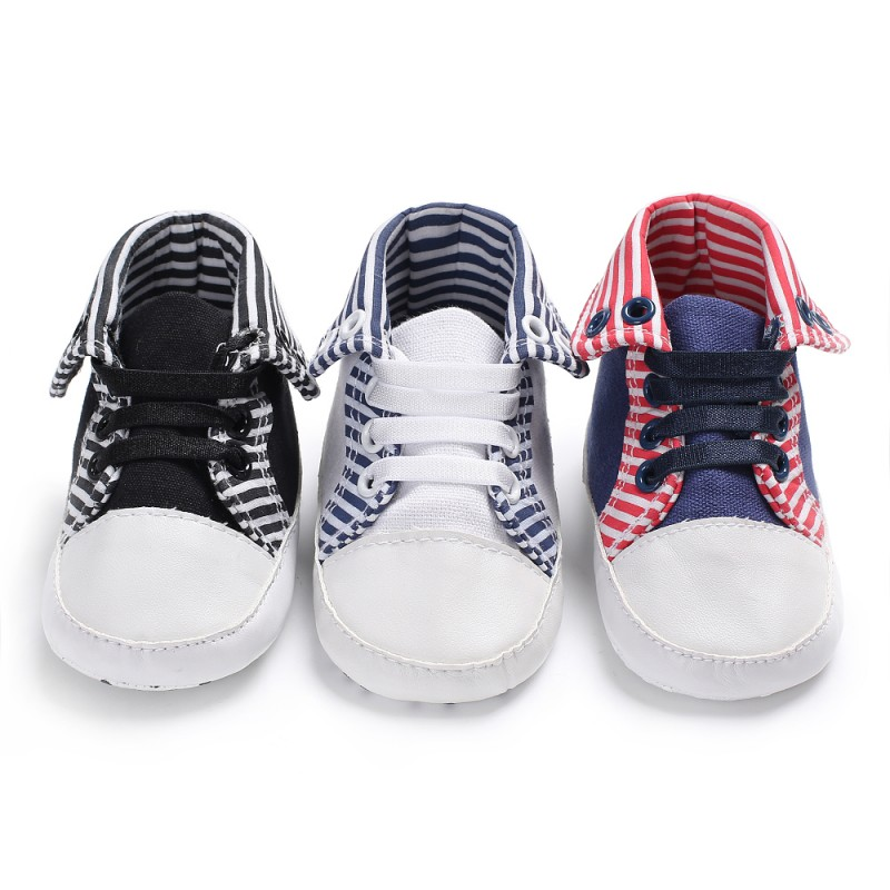 Baby Casual Shoes Baby Boys Girls Toddler First Walkers Stripe Patchwork Soft Bottom High Shoes 1 Pair