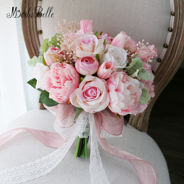 Modabelle Newest Style Pink Peony Tulip Artificial Brides Bouquet Lace Handle Wedding Flowers Bridal Bouquets Handmade