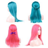 100% Human Hair Part Lace wig Side Part Lace Hair pink color Gemstone green wig for Special Occas Brazilian Remy Human Hair Wig