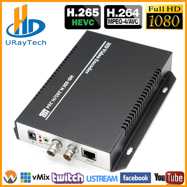URay HEVC H.265 / H.264 HD / 3G SDI IP Live Streaming Video helisignaali HTTP, RTSP, RTMP, UDP, ONVIF