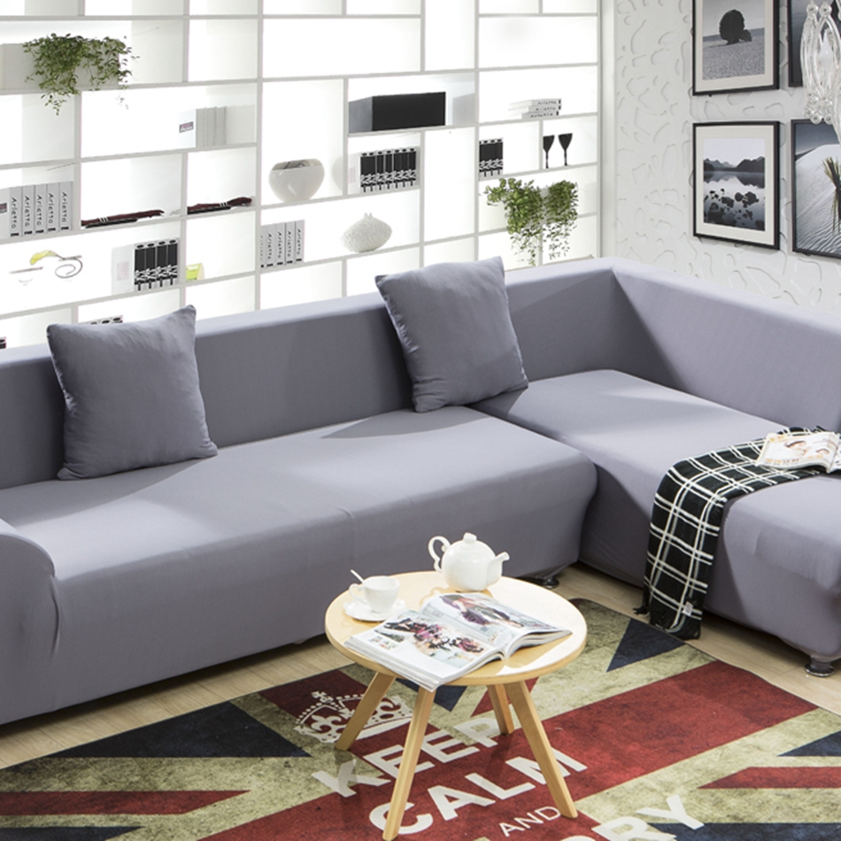 Universal Stretch Sofa Cover For 4 Seasons Polyester Grey Corner Couch Sofa Cover For Living