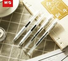 M & G 12/lot Super Suave Agarrar Borracha Gel Caneta de Tinta Caneta Retrátil de Ultra Longo Simples Escrita do Aluno caneta Escritório e Material Escolar