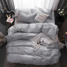 3/4pcs Bedding Set Stripe Lattice Geometric Pattern Bed Sheet Pillowcases Cover Full King Queen Tiwn Beding