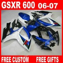 Navio livre carenagens para 2006 2007 carroçaria SUZUKI luz azul branco preto GSXR 600 750 K6 BACARDI GSXR600 GSXR750 kit 7 presentes FU83