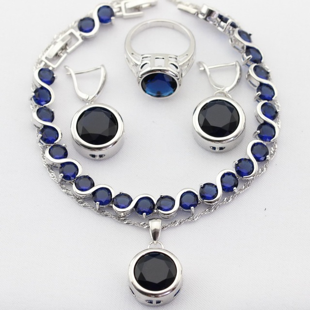 Charms Round Silver Color Christmas Women Jewelry Sets Blue Imitated Sapphire White CZ Necklace Pendant Earrings Rings Bracelet