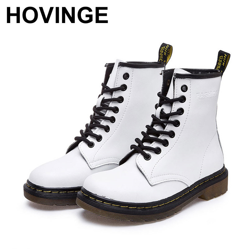 HOVINGE 2018 New Spring Fashion Boots Women Shoes for Lady Genuine Leather Boots White Brand Martin