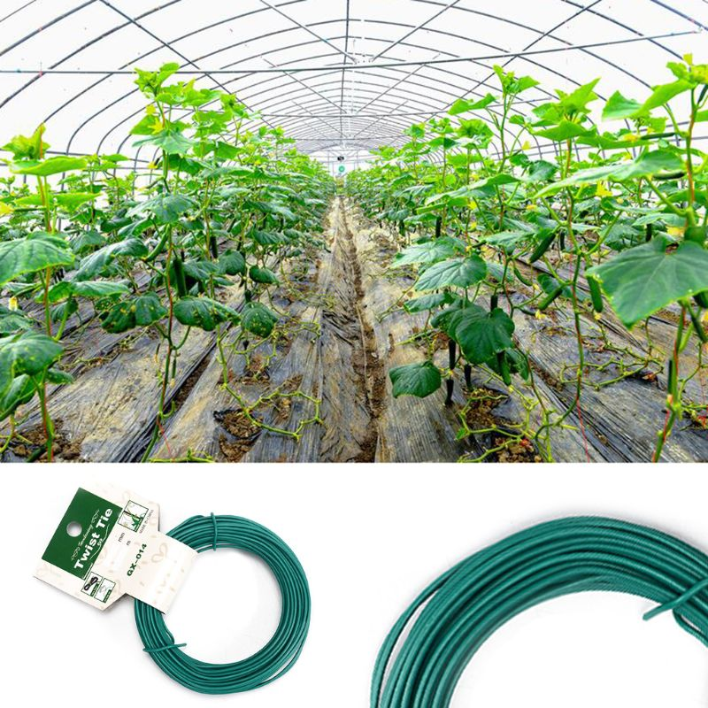 15m Plant Twist Tie Garden Wire Green Coated String DIY For Garden Training Support Strap Bonsai Outlet Cable