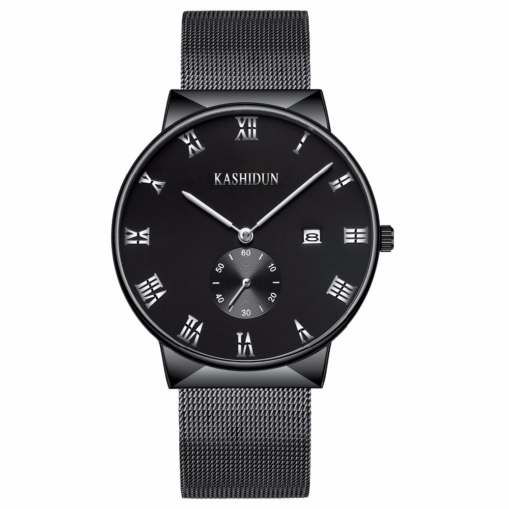 KASHIDUN Men's Watches Luxury Top Brand Business Military Casual Wrist watch Waterproof Calendar Square Dial relogio masculino