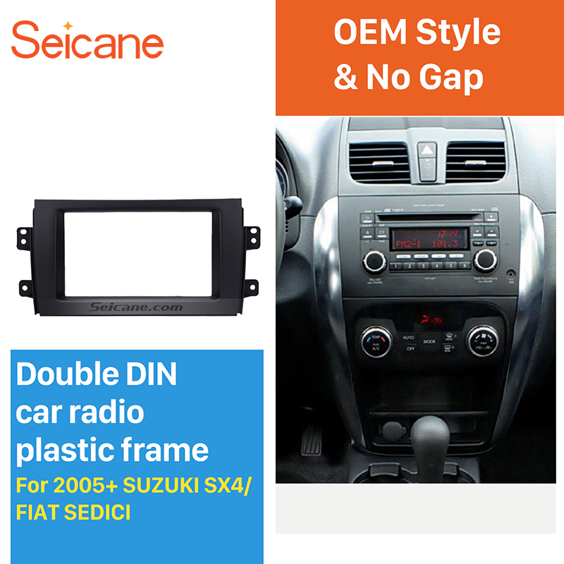 Seicane Black 2Din Car Radio Fascia for 2007-2013 Suzuki SX4 for 2005+ Fiat Sedici Stereo Player Panel Face Plate Install Frame
