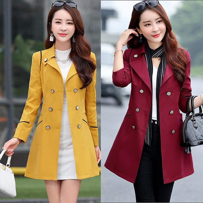 Korean Type Fashion Female Slim Double Breasted Full Sleeve Windbreaker Coats Jackets