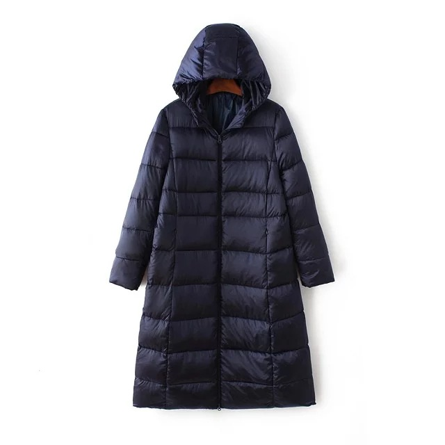Fashion Winter Women Down Jacket Long Sleeve White Duck Down Filling Long Coat Outwear Black and Navy blue 3XL Size C76906M