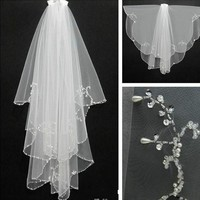 Cheap Wedding Veil With Beaded Pearls Soft Tulle Bride Bridal Veil 2017 White Ivory Wedding Accessories