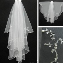 Cheap Wedding Veil With Beaded Pearls Soft Tulle Bride Bridal Veil 2017 White Ivory Wedding Accessories Free Shipping