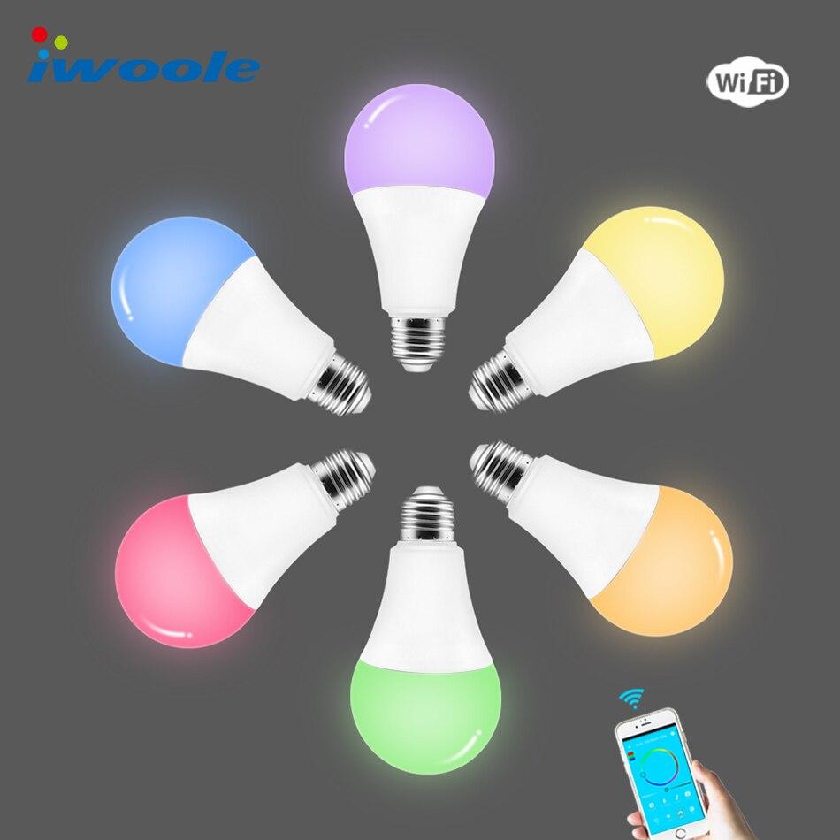 Iwoole Led Light Bulb E27 7w Alexa Google Home Dimmable Rgb Rgbw Wifi Smart Lamp Energy Saving Bulbs Warm White Color Flow