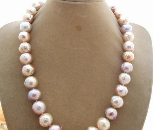 pearl necklace multicolor reborn keshi baroque 12-14mm Bead-Nucleated
