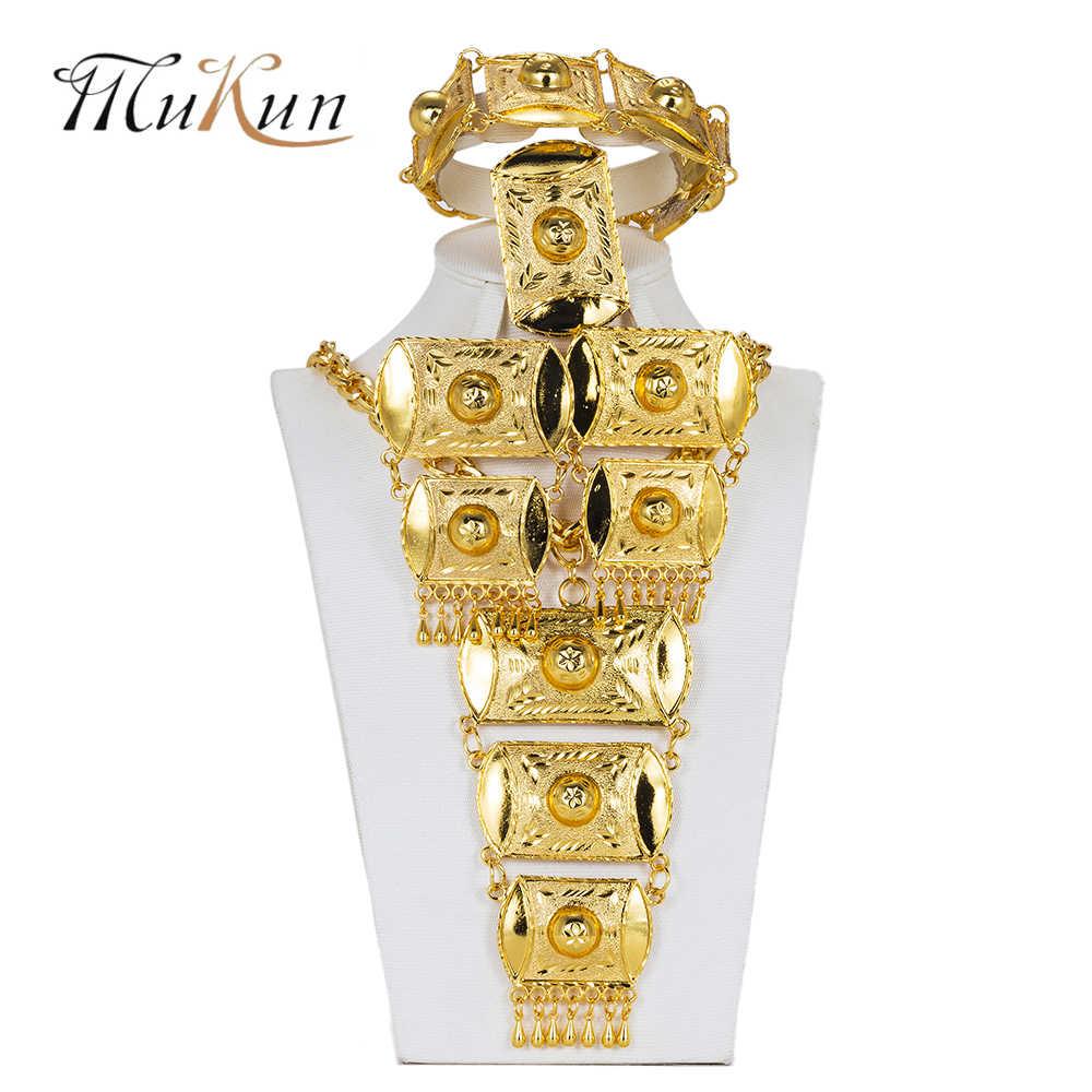 MUKUN קובע כלה מתנה ניגרי חתונה אפריקאית חרוזים תכשיטי סטי אופנה טורקיה תכשיטי שרשרת תליון עיצוב