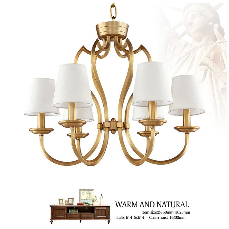 Vintage 6 Lights Copper Chandelier Lighting Fabric Shades Hanging Lamp Light For Dinning Room Kitchen PL569 6