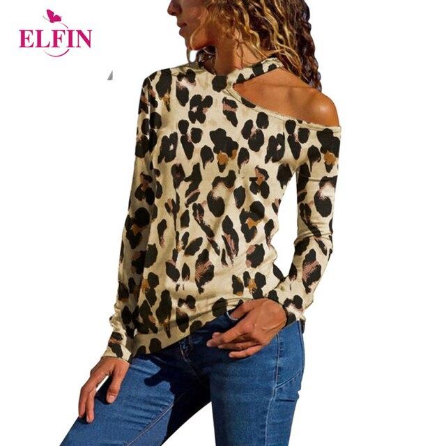 01b5ab8868 New Fashion Leopard Print T-Shirt Women Plus Size One Shoulder T-Shirts  Long Sleeve Streetwear Femme Shirt Tops SJ1586R