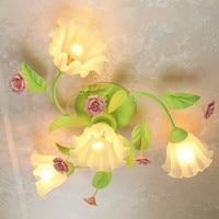 garden style bedroom warm living room restaurant iron flower ceiling light