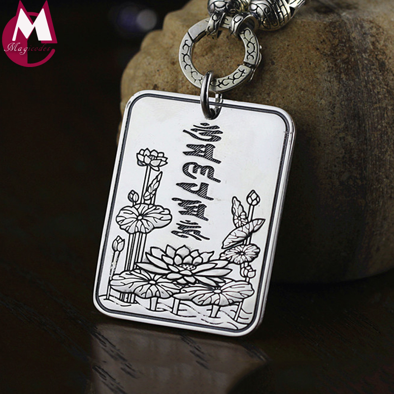 Buddhism Heart Sutra Scripture Pendant 100% 999 Sterling Silver Necklaces Pendants For Men Women Christmas Gift Jewelry SP32