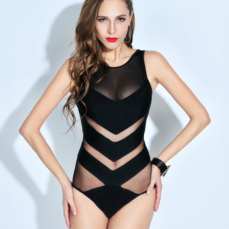 2016 S-2XL black white perspective swimwear plus size sexy monokini o neck swimsuit mesh women push up one piece bathing suit black blue one piece swimsuit monokini backless sexy leotard women plus size bathing suit top quality transparent mesh swimwear