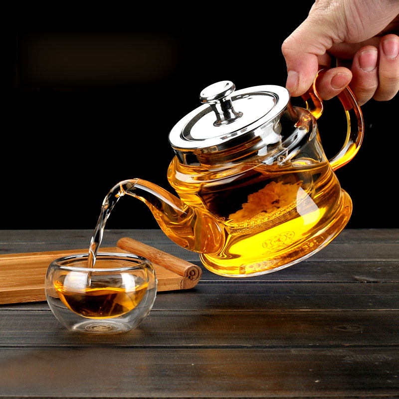 Image 5 - Good Clear Borosilicate Glass Teapot With 304 Stainless Steel Lid Glasses Infuser Strainer Heat Resistant Black tea pots-in Teapots from Home & Garden on AliExpress
