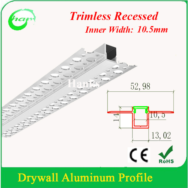 US $100 58 6% OFF|10M(1M/PCS) Trimless Recessed Aluminum Drywall Profile  Channel for Wall and Ceiling-in LED Bar Lights from Lights & Lighting on