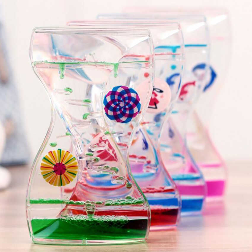 Liquid Motion Bubbler Timer with Dual Spinning Wheels Sensory Toy for Relaxation, Liquid Motion Timer Hourglass Floating Color