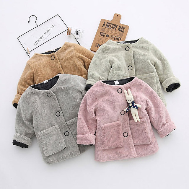 f01f02ebf Newborn Girl Autumn Spring Cotton Fleece Thick Warm Jacket Fashion  Outerwear Infant Baby Girls Coats Toddler Kids Clothing Cloth