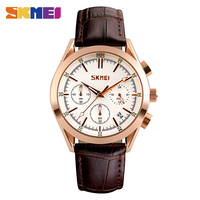 SKMEI Men Quartz Watches Luxury Fashion Casual Wristwatch Water Resistant Complete Calendar Leather Band Watch Man
