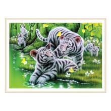 5D DIY Diamond Painting Animal Tiger Pattern Cross Stitch Crystal Round Mosaic