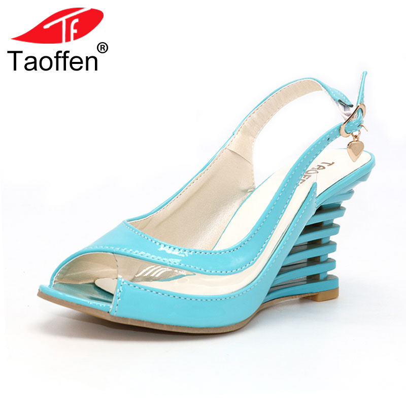 TAOFFEN High Wedge Heel Sandals Buckle Style Open Toe Transparent Shoes Women's Summer Shoes Patent PU Summer Brand New Shoes pu line style buckle high heel womens glitter sandals page 2