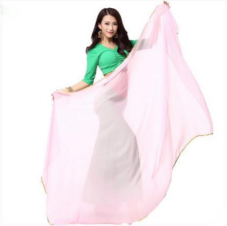 Accesorios de danza del vientre oro de gasa senior 1.2 * 2m velos de danza del vientre para mujeres bufanda de danza del vientre