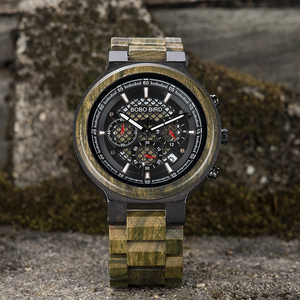 Image 3 - BOBO BIRD Men Watches Personalized Wood Watch Male for Him Handmade Lightweight Chronograph Date Causal relojes military