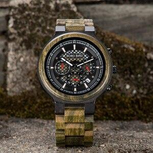 Image 3 - BOBO VOGEL Mannen Horloges Gepersonaliseerde Houten Horloge Mannelijke voor Hem Handgemaakte Lichtgewicht Chronograaf Datum Causale relojes militaire