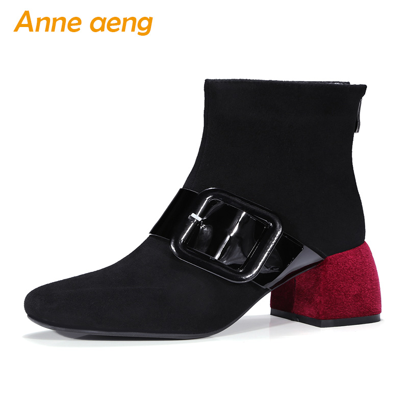 2019 New Genuine Leather Women Ankle Boots High Heel Square Toe Zip Buckle Fashion Sexy Ladies Boots Black Women Kid Suede Shoes 2017 new fashion lace up women boots genuine leather square heel black autumn winter sexy brand ladies ankle boots women shoes